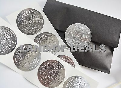 """50 Large GOLD Round sticker seals embossed metallic foil stickers 2/"""""""