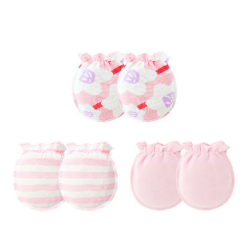 3Pairs Baby Soft Anti Scratch Teething Mittens Gloves for Newborn Boys /& Girls