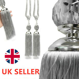 2PCS-Curtain-Holdbacks-Rope-Tie-Backs-Tassel-Tiebacks-Beaded-Ball-Decor-Silver