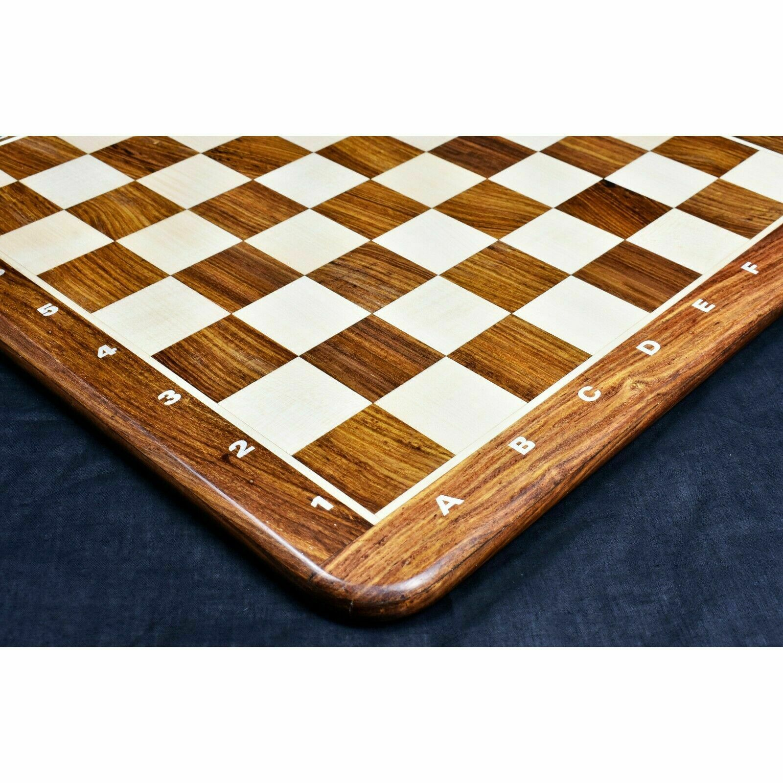 21  Large Chess Board golden pink Wood & Maple 55mm Square - Algebraic Notations