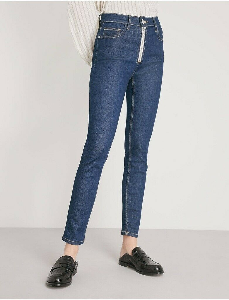 Current Elliot The High Waist Skinny Zipper Denim bluee Jeans