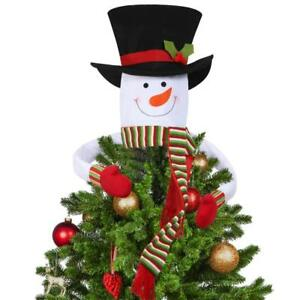 Snowman-Christmas-Tree-Topper-Cover-Ornament-Holiday-Decorations