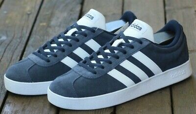 Details about Adidas NEO VL Court 2.0 SkateBoarding Skate Shoes Navy Blue Suede White Men 10