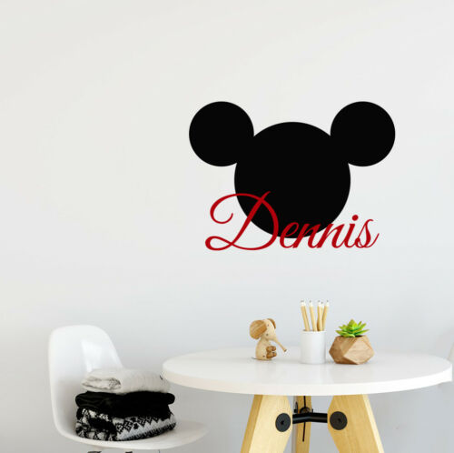 Personalized Name Wall Decal Mickey Mouse Decals Head Ears Vinyl Sticker aa514