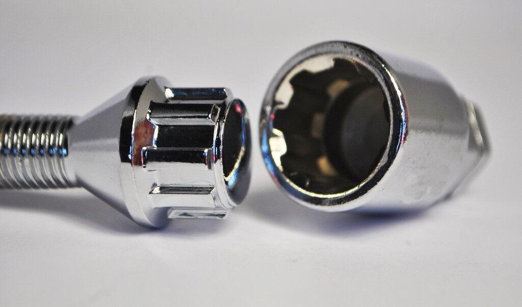 20 20 20 X M14 X1.5 50mm Gewinde Jeans Rad Bolzen und Sicherungsmuttern (Silber) cf719c