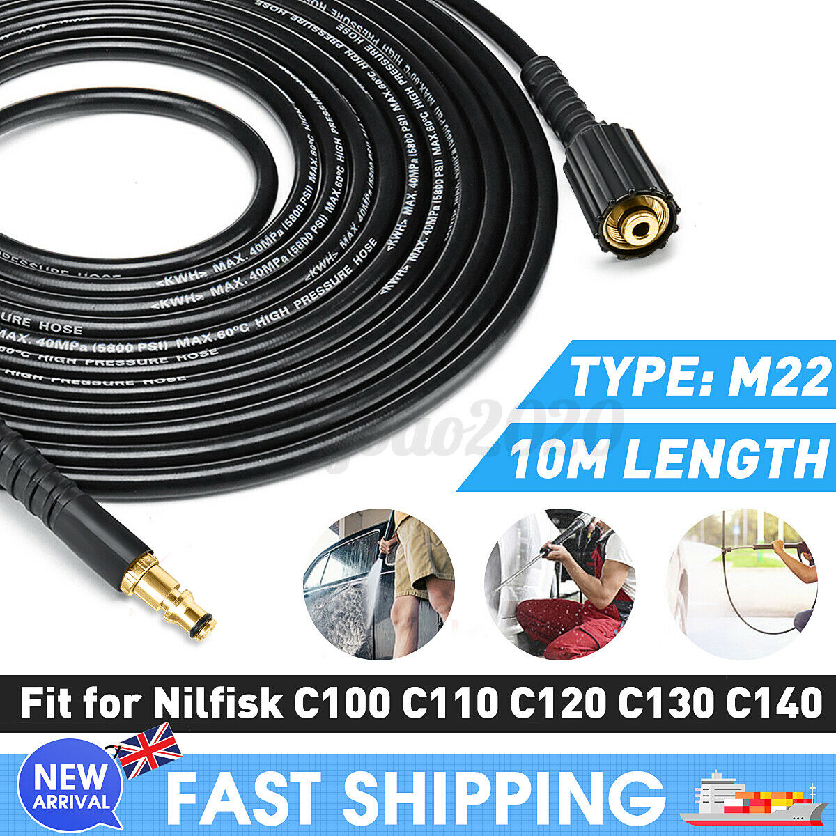 10M Replacement High Pressure Washer Hose M22 Jet Power For Nilfisk C100-C140