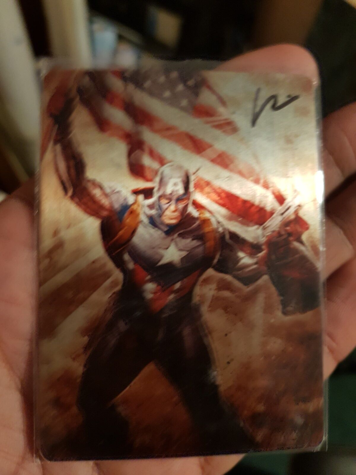 MARVEL SDCC 2015 captain america metal Trading Card Ltd 100 signé Chad Hardin