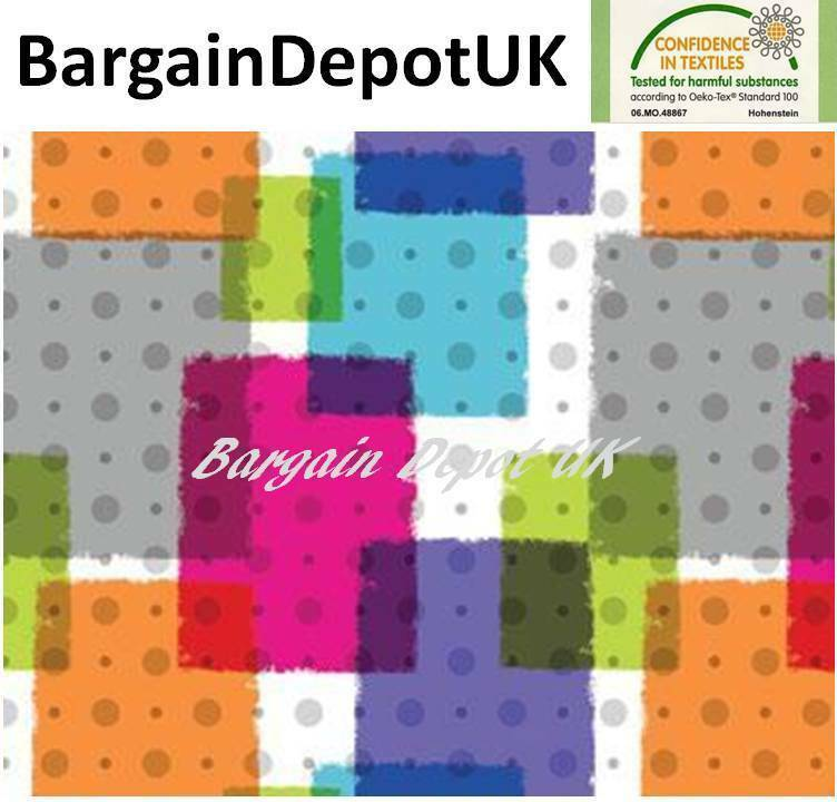 Multi Colour Rectangles with Dots PVC Wipe Clean Vinyl Tablecloth - Code  F731-1