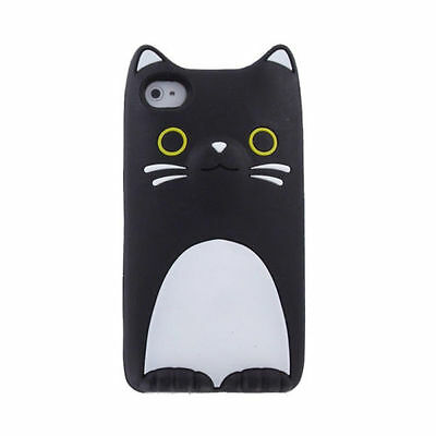 Silikon Schutzhülle Tasche Cover ANIMAL TIERE 3D LG K8 K350N KATZE SCHWARZ