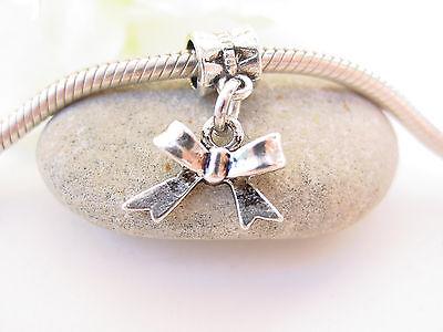 Cute 3D Silver Tone Ribbon Bow Gift Slide Dangle Charm fits European Bracelets