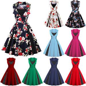bbea7909333be1 Das Bild wird geladen Damen-Kleid-Rockabilly-Petticoat-Sommer-Retro-50er- Jahre-