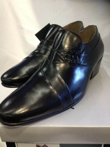 Formal Smart Soft Cuban Shoe Dress Dance Salsa nero On Uomo Slip Leather Heeled 6Bw18IIq