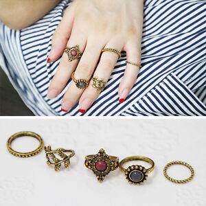 5pcs-Set-Gold-Women-Punk-Vintage-Knuckle-Tribal-Ethnic-Hippie-Stone-Joint-Ring