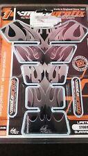 Serbatoio pad proteggi protezioni per serbatoio moto tribale fiamma nero argento