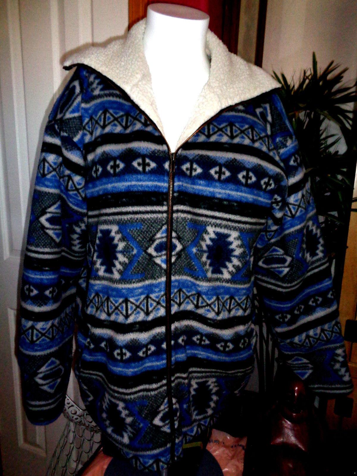HEY MAN mens vintage southwestern motif fleece sherpa lined 48 chest excellent