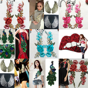 Rose-Flower-Peacock-Applique-Badge-Embroidered-Sew-on-Floral-Collar-Patch-Dress