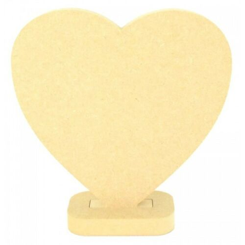 Wooden MDF Freestanding Craft Heart on Stand Mothers Day Gift Fathers Day Gift