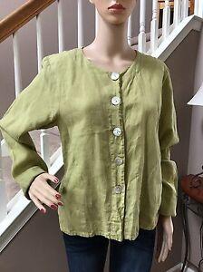 FLAX-Green-Linen-Button-Down-Shirt-Top-Blouse-Front-Pockets-S-6-8