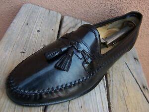 SANTONI-Mens-Dress-Shoes-Black-Leather-Casual-Italian-Tassel-Loafers-Size-10-5B