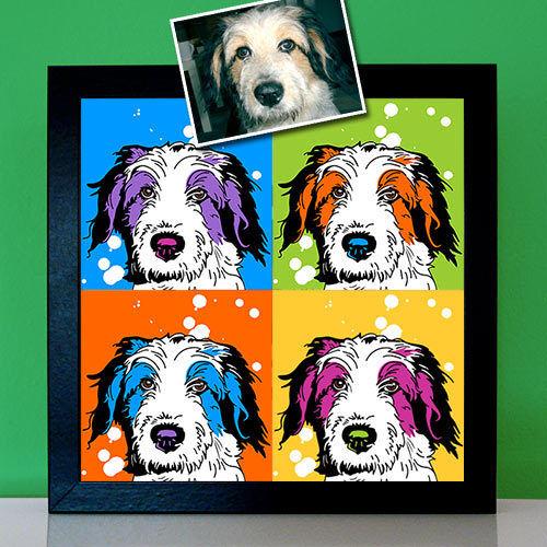 Pop Art Tierportrait malen lassen Hunde Bild Leinwand Geschenk für Hundebesitzer