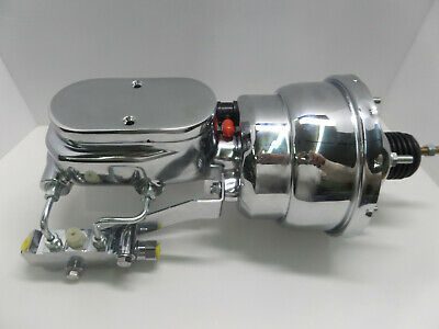 "Disc Disc 7/"" Dual Power Booster Bail Top Master Cylinder /& Brackets Kit CHROME"