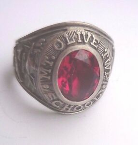 1975 Mt.Olive Twp.(NJ) School Class Ring..925 Sterling Silver.Size 9. 12.1 Grams