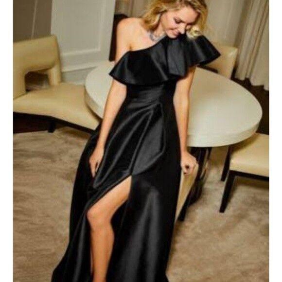Adrianna Papell Iri Faille Long Dress One Shoulder