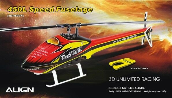 Align T-Rex 450L Speed Fuselage – Red & Yellow