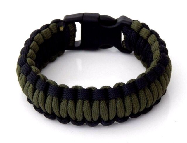 Premium 550 Paracord Survival Bracelet Od Green And Black 5 8 Plastic Buckle