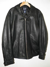 MEN'S GAP BLACK LEATHER ZIP FRONT JACKET FULLY LINED SZ M THICK HEAVY GOOD USED