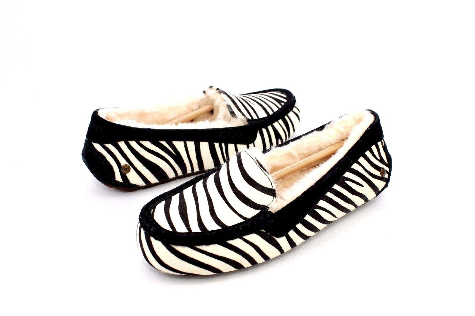 7b53d79d85e UGG Ansley Exotic Zebra Calf Hair Sheepskin Moccasin Slippers US 10/ EUR 41