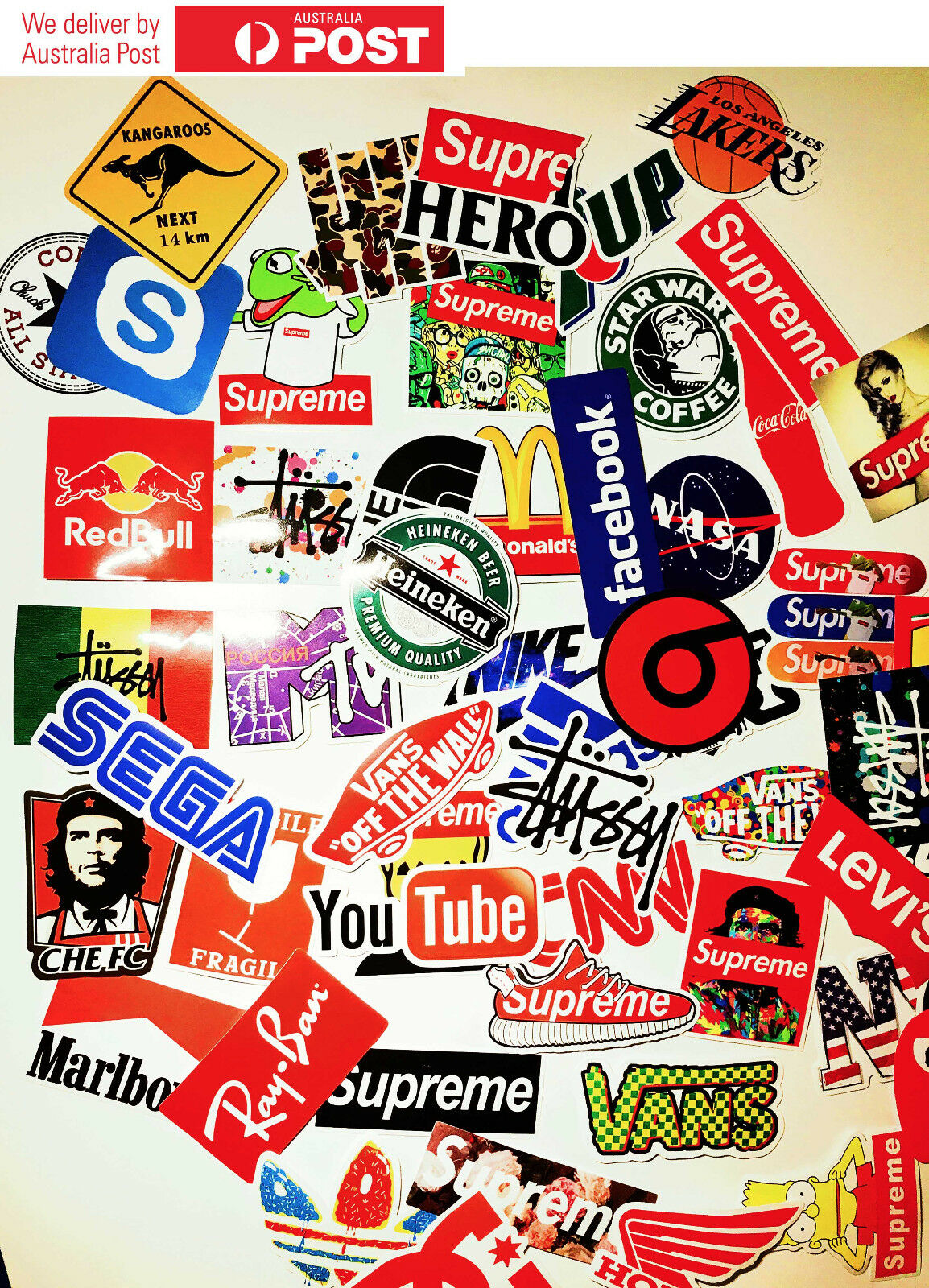 Details about 60pc brand logo stickers vinyl stickers decals snowboard luggage car laptop bike