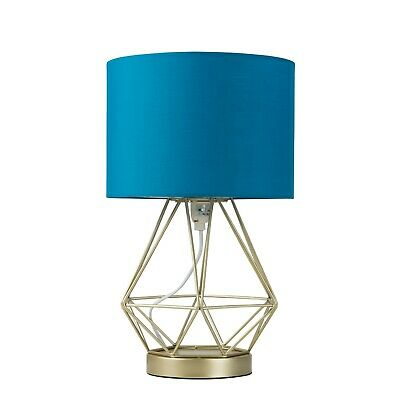 Gold & Blue LED Touch Dimmer Geometric Table Lamp Bedside Living Room Light | eBay