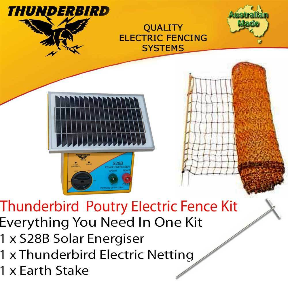 Thunderbird Poultry Netting S28b Solar Energiser Chicken Electric Fencing Accessories 7 Strand Fence Wire Unit Kit 50m X 112cm