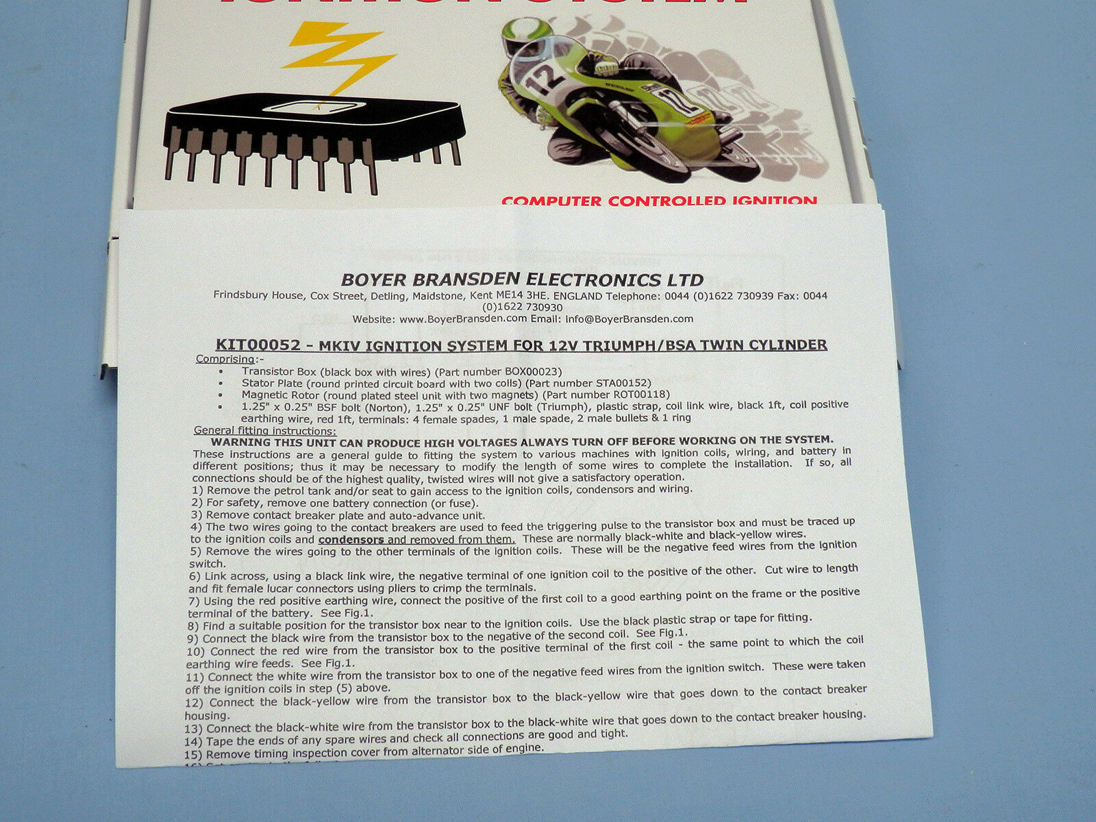 Boyer Bransden Micro Mk4 Hi Power Electronic Ign Triumph Bsa Uc Positive Ground Wiring Diagram Twins Kit 00052 Ebay