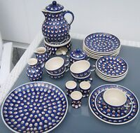 Gedeck Bunzlau Bunzlauer Keramik blau braun Pfauenauge Service Auflösung einzeln