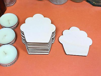 WOODEN CUPCAKE Shapes 7cm x10 wood cake shape plywood cutouts crafts blanks