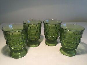 Vintage-Set-4-INDIANA-Whitehall-Colony-Cubist-Footed-Avocado-Green-Tumblers