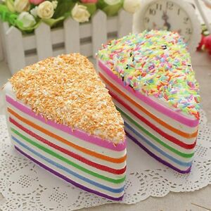 Jumbo Lovely Fake Cake Kids Squishy Rainbow Cake Phones Straps Fun