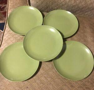 Set-of-5-034-OD-034-Oneida-Deluxe-Melamine-Avocado-Green-Salad-Plates