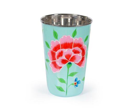 Indisch Schön Hand Rose Blumenmuster Edelstahl Trinkflasche Saft Weinglas