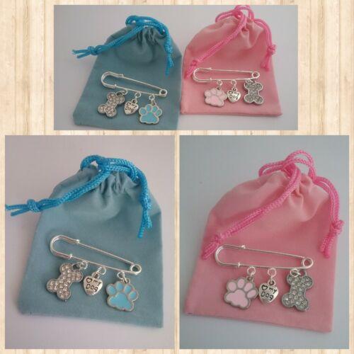 ❤ ❤ Perro Amante Broche Pin Azul O Rosado ❤ con 3 encantos ❤ ❤ Bolsa De Regalo