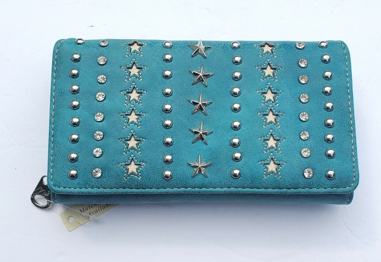 New Montana West Turquoise Color Wallets with Silver Stars and Studs