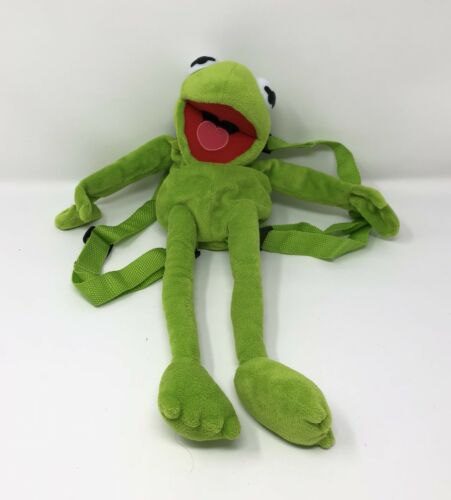 """Disney Kermit the Frog douce peluche sac à dos 19/"""" vert The Muppets BACK PACK"""