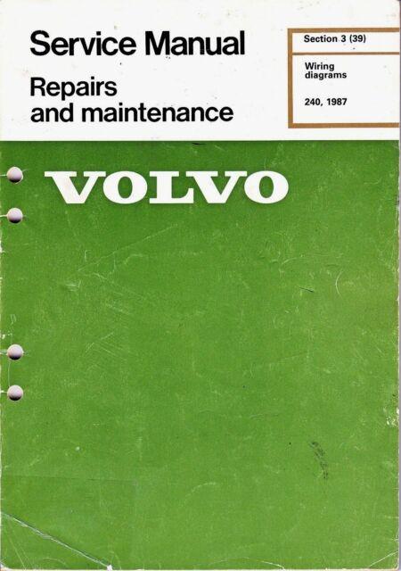 1987 volvo 240 wiring diagrams service manual sedan and wagon