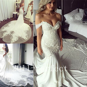 Image Is Loading 2017 Summer Mermaid Wedding Dresses Lace Embroidery Train