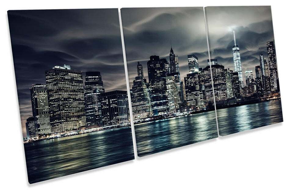 New York City Skyline Manhattan TREBLE CANVAS WALL ART Print Picture
