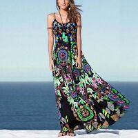 Women Retro Boho Floral Summer Beach Party Evening Maxi Long Dress Sundress Sexy