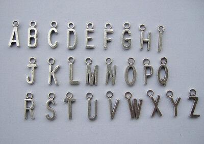 130pcs/lots antique silver plain alphabet letter charms tiny pendants A-Z 16MM