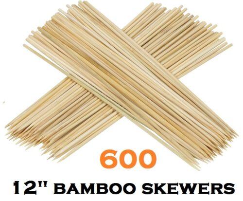 """600 X BAMBOO LEGNO PER BARBECUE Skewers Bastone Frutta Kebab Cioccolato Fountain 30 Cm 12 /""""NUOVO"""